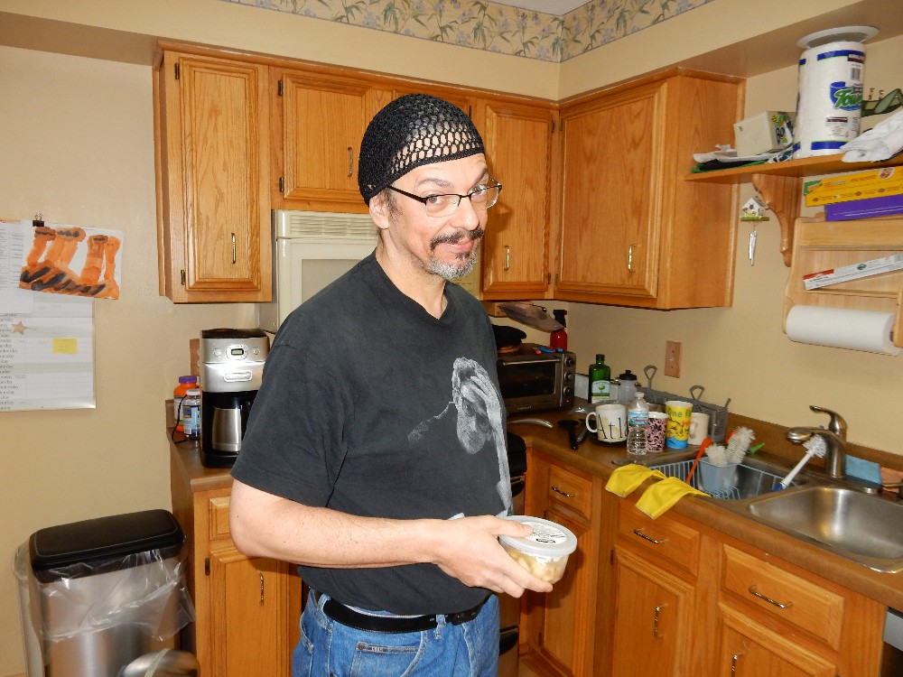 Me in early April 2015 (probably about 185 pounds, actually ... I think I'm holding a container of my homemade mayo, there.)